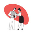 man and woman discuss work with gadgets people vector image vector image