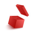 open empty red paper box vector image vector image