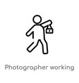 outline photographer working icon isolated black vector image vector image