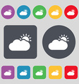 Partly Cloudy icon sign A set of 12 colored vector image vector image