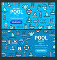 pool and water signs banner horizontal set vector image