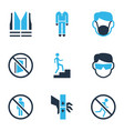 protection icons colored set with dust mask keep vector image vector image