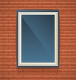 Realistic blank poster in a wooden picture frame vector image