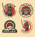 samurai warrior prints vector image vector image