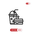 sandwich with drink icon vector image vector image
