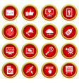seo icon red circle set vector image vector image