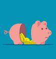 separated piggy bank broken piggy bank concept vector image vector image