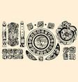 set intricate black mayan tattoo designs vector image