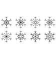 set isolated snowflake vector image