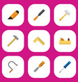 set of 9 editable equipment icons includes vector image vector image