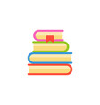 stack of book in flat design on white background vector image vector image