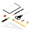 stationery office school supply icon set adhesive vector image