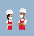 team chefs wearing personal protective vector image
