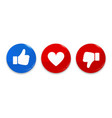 thumb up down and heart icon like dislike and vector image vector image