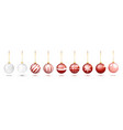 transparent and red christmas ball set with snow vector image