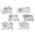 Vintage heraldic lions set vector image vector image