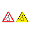 Warning sign garlic attention Dangers yellow sign vector image