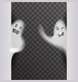 white scary ghost look out corner halloween night vector image vector image