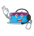 with headphone pencil case character cartoon vector image