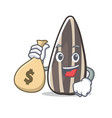 with money bag sunflower seed character cartoon vector image vector image