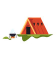 wooden hut and campfire camping recreation on vector image