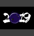 abstract number 2019 and a bowling ball from blots vector image