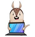 armadillo holding lap top on white background vector image vector image