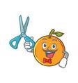 barber orange fruit cartoon character vector image vector image