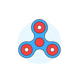 blue linear hand fidget spinner on white vector image