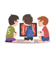 boys sitting in front computer screen playing vector image vector image