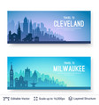cleveland and milwaukee famous city scapes vector image vector image