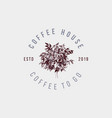 coffee house label with hand drawn coffee tree vector image vector image