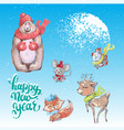 cute animals in warm hat and scarf vector image