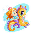 cute mermaid riding on a sea horse cartoon vector image vector image