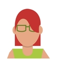 faceless woman with glasses icon vector image