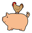 farm pig and hen vector image vector image