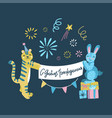 flat a happy birthday yellow tiger and blue vector image vector image