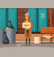 flat homeless people composition vector image vector image