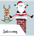 funny christmas card with santa and reindeer vector image