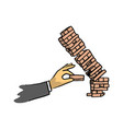 hand of businessman make tower wooden block game vector image vector image