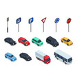 isometric cars road signs 3d vehicles isolated vector image