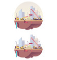 low poly water main construction site vector image vector image