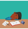Male student sleeping at the desk with book vector image vector image