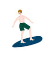 man surfer riding surfboard catching waves young vector image vector image