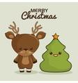 merry christmas characters kawaii style vector image vector image