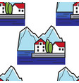 montenegrin landscape seamless pattern house on vector image vector image