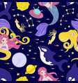 octopus space cosmos princess girl seamless vector image vector image