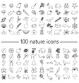 one hundred nature theme outline icons big set vector image vector image