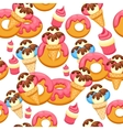 Pattern Ice Cream and donut with pink glaze vector image vector image