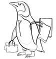 penguin with bags contours vector image vector image